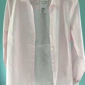 NWT H&M Pink & White Button-Up Long-Sleeved Blouse